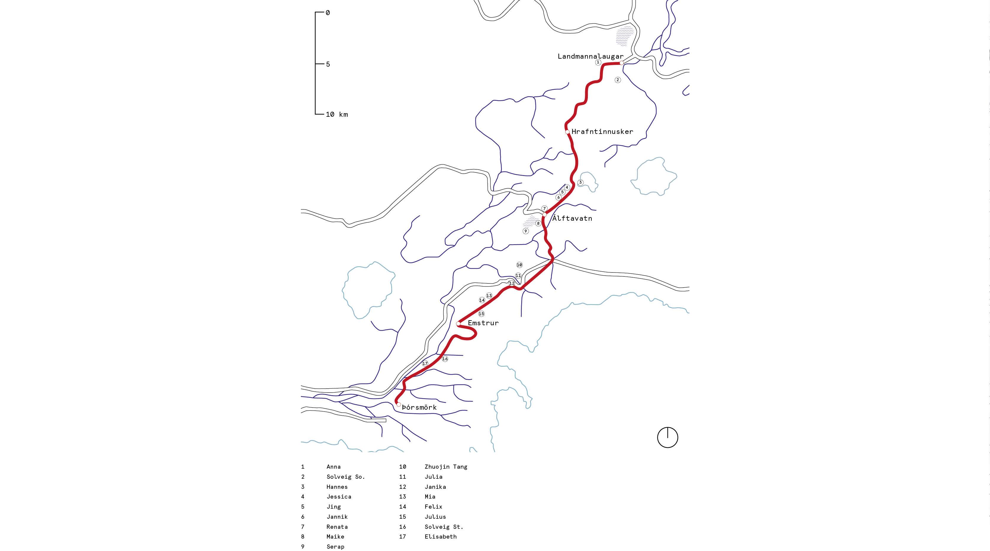 Lageplan des Trails mit allen Behausungen